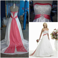 Wholesale Pink and White Wedding dresses Fall Winter Strapless A line Court Embroidery Bandage Bridal gowns