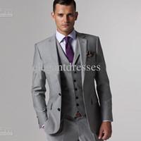 мужчины удовлетворить мужская полный дизайнер смокинг / Жених (куртка + брюки + галстук + жилет)