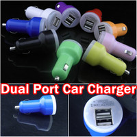 Wholesale colorful Port Dual USB Car Charger Adapter A Bullet Car Charger for iphone S ipad