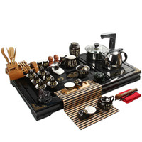 Wholesale Handwritten tang poetry crack tea set kung fu tea set solid wood tea tray induction cooker