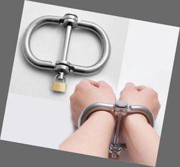 Wholesale Luxury Male Female Stainless Steel Lockable Wrist Restraint Handcuff Chastity Belt SM103
