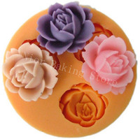 Wholesale 3D Silicone Soap Molds flower plunger Candle Candy Jelly Cake Craft mould
