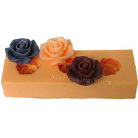 FDA Chocolate Moulds Silicone 3D rose flower Silicone chocolate Soap Mold handmade soap Mould For Candy Jelly pudding Cake Craft