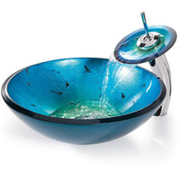 Wholesale Bathroom tempered Glass Vessel Vanity print color Sink bowl with faucet MX72