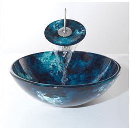 Wholesale Bathroom tempered Glass Vessel Vanity print color Sink bowl with faucet MX92