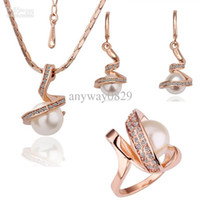Wholesale Fashion K Gold Plated Pearl Crystal Necklace Earring Wedding Rings Jewelry Sets For Women TZ040