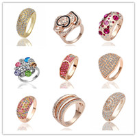 Wholesale Mixed orders Top quality plated K gold inlaid Czech Diamond Crystal Rings