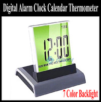 Wholesale 7 Color Digital Alarm Clock Calendar Thermometer xAAA