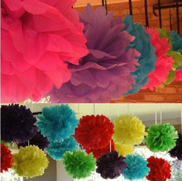 Wholesale Colorful quot Pom Poms Flower Balls Tissue Paper Flower Wedding Favors Party Shower Home Decoration