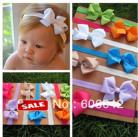 Wholesale Baby Elastic Headbands soft stetch headband with quot quot baby ribbon bows