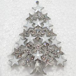 12pcs lot Wholesale Crystal Rhinestone Enameling Christmas tree Pin Brooch Christmas gift party C550