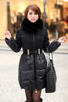 Wholesale elegant Woman Winter Warm Slim Long fox Fur Collar bowknot belted Coat Down Jacket Parka