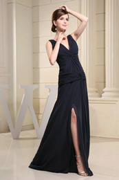 Wholesale WD3 Real Sample V Neck Long A Line Ruffled Black Chiffon Evening Dress Fomal Gowns