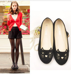 Wholesale Super Stars Love Cute Cat Pet Embroidered Flat Heels Ballerina Shoes Womens Designer Shoes