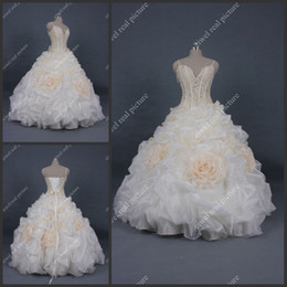 Wholesale Ankle Length Ball Gown Wedding Dresses Spaghetti Straps Pleated Bridal Gowns with Handmade Flowers