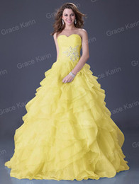 Wholesale Grace Karin New Organza Ball Gown Wedding Beaded Lace Up Prom Graduation Dresses Size CL3411