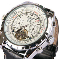 Wholesale Hot jaragar Men Leather Mechanical Auto Tourbillion White Dial Date Dive Swiss Mens Watches