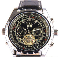 Wholesale jaragar Men Leather Mechanical Tourbillion Black Dial Dive Luxury Swiss Mens Watch