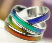 la mode anneau d'humeur de EPACK GRATUIT couleurs changeantes inoxydable taille de l'anneau en acier: # 16 # 17 # 18 # 19 # tailles 20 mix