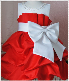 Wholesale 2013 Princess Girls Luxury Dress Red and White Sleeveless Formal Dresses New Year Kids Party Costume
