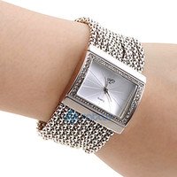 Wholesale Women s PC Movement Silver Band White Dial Bracelet Watch with Czechic Diamond Decoration Silver