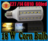 Wholesale 18W led corn bulbs lamp Super bright SMD LED lamp E27 E14 GU10 B22 V V white warm