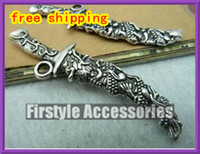 Wholesale silver charms Sword Cameo Dragon Charms Jewelry Pendants mm Vintage Silver Jewelry Components