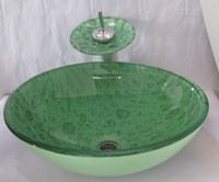 Wholesale Bathroom tempered Glass Vessel Vanity print color Sink bowl with faucet MX116