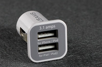 Wholesale 3 A USAMS dual port usb car charger V mah for iPhone iPAD ipod Samsung HTC