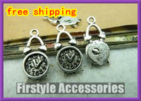 Wholesale silver charms Vintage Lovely Mini Clock Charms Pendants mm Antique Silver Metal Handcrafted