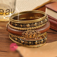 Women's Wood Halloween Retro wooden metal flower carving Bracelet Multi-layers loops bangle bracelet JW- BL20