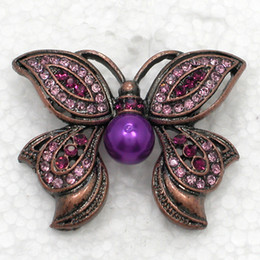 12pcs lot Wholesale Fashion Crystal Brooches Rhinestone Faux Pearl Butterfly Pin Brooch C517