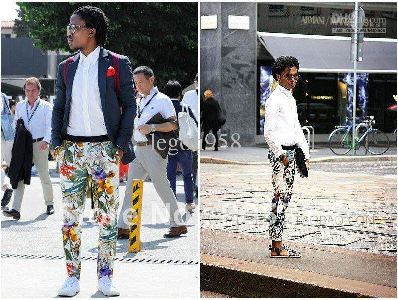Flower Printed Pants Pants Men's Flower Print