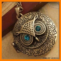 Wholesale Photo Frame OWL Pendant Necklace Vintage OWL Jewelry ZHNL02