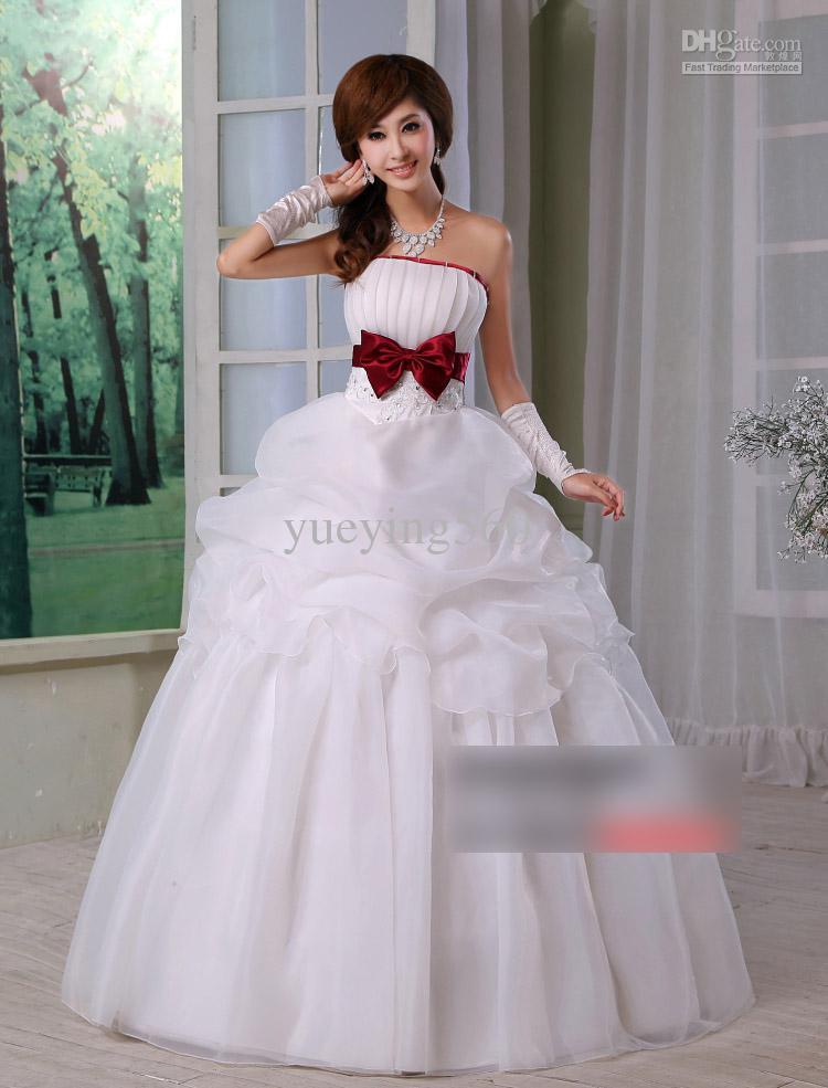 New designed sexy fashion wedding dress big red bow for Big red wedding dresses