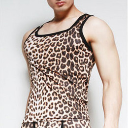 Wholesale 1212 intouch male vest tight men s leopard print viscose thin basic undershirt