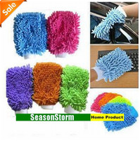 Wholesale Retail Colorful Microfiber Double Face Snow Neil Gloves Vehicle Clean Cloth SX