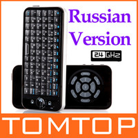 Wholesale 2 G RF Russian Version iPazzport Fly Air Mouse Mini Wireless Keyboard with IR Learning Remote C1542