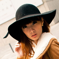 Wholesale 2013 autumn women s fashion vintage women s large wide brim hat fedoras lady hat black
