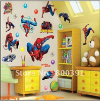 Wholesale Brand New UK Hot Spiderman Cartoon Boy Room x70cm sheet Nursery Mural Wall stickers mixed