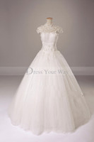 A-Line bridal dress china - 2014 Vintage China Wind Wedding Dresses High Collar Short Sleeves Sequins Tulle Wedding Gown Crystals Lace Applique Bridal Gown
