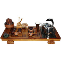 Wholesale Ceramic tea set cedar tea tray a whole set induction cooker tea set solid wood tea tray