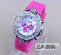 Fashion Women's Stopwatch 2015 Hot high quality Geneva Double Diamond watch for women silicone strap Shiny watches fashion free ship 12 colors 10pcs