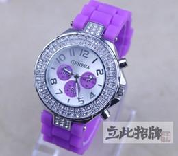 New 3 Eyes Style Geneva Diamond Watch Jelly Rubber Stone Silicone Crystal Quartz Watches 30pcs  lot