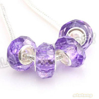 Wholesale Clear Purple Acrylic Round Faceted Big Hole Beads Charms for Pandora Jewelry Making