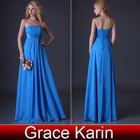 dress blue grace - Grace Karin Women s Blue Strapless Evening Dress Long A line Bridesmaid Gown Ball Party Dress CL3458