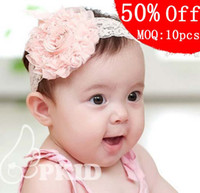 Lace band pink roses - 50 Off Baby Headbands MOQ Korean Hair bands Hair accessories Roses with Princess flower head