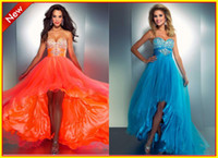 Wholesale 2014 New Arrival Strapless A line Beads Organza Blue Orange High Low Evening Prom Dresses Formal Party Dress Gowns A Real Photo