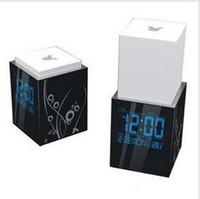 8 peças/ctn nova casa de estilo novidade tocar para cima e para baixo de cabeceira lâmpada led relógio 15kg/ctn AAA*2 (não