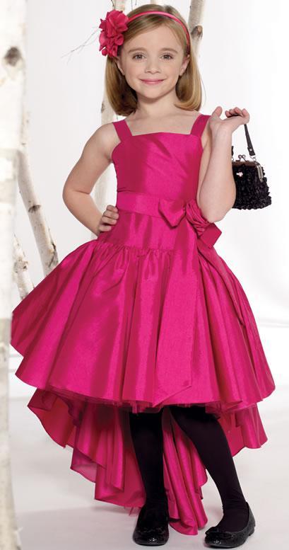 Fashion Shoulder Straps Front Short Back Long Taffeta Flower Girl ...